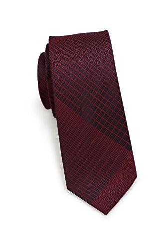 PUCCINI schmale Krawatte│6cm skinny slim Tie, Binder, Schlips│einfarbiges modernes, trendiges Muster in Rot (Weinrot)