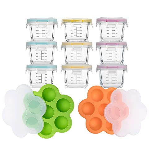 Lifelum 9 Sets Glass Baby Food Storage Containers & 2 Sets Silicone Baby Food Freezer Tray with Lid Baby food Jars with Lids for Homemade Baby Food, Vegetable & Fruit Purees, and Breast Milk