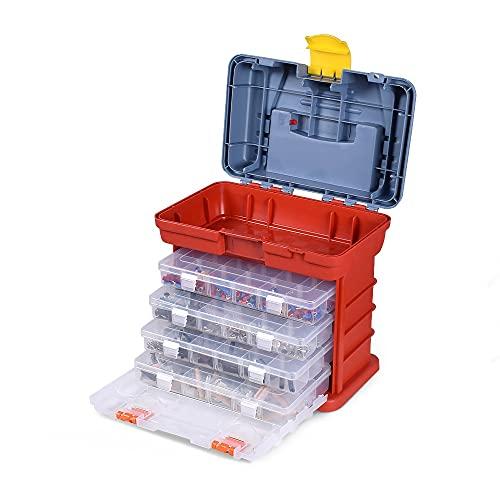 Weiyang Caja de almacenamiento de hardware portátil Piezas de 4 capas Caja de herramientas de plástico Caja de herramientas al aire libre Ajuste para reparaciones Accesorios de pesca Caja de herramien