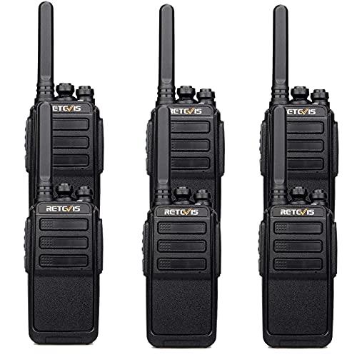 Retevis RT28 Walkie Talkie Recargable, PMR446 Walkie-Talkie con Cable Cargador USB 2 en 1, VOX, Licencia Libre, Alarma de Emergencia, Walkie Talkies Portátiles Fábrica, Negocios (Negro, 6 Piezas)