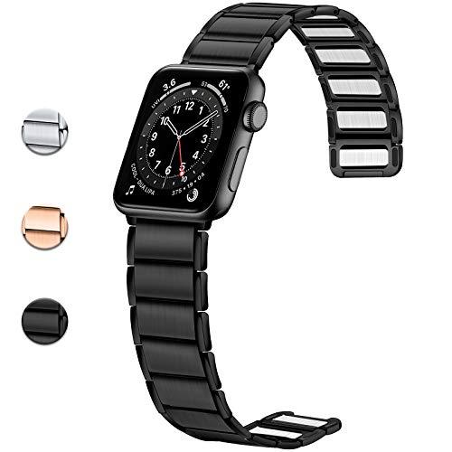 JUVEL Kompatibel mit Apple Watch Armband 38mm 40mm 42mm 44mm, Starkes Magnetisches Edelstahl Metall Ersatzglied Armbänder Kompatibel für Apple Watch SE/iWatch Series 6 5 4 3 2 1, 42mm/44mm Schwarz