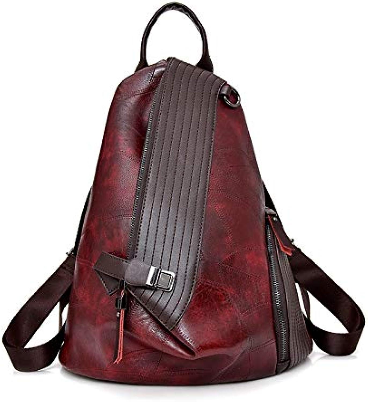 QYYDSJB Frauen Rucksack Marke Leder Rucksack Weiblichen Groe Kapazitt Bookbag Einfache Schultasche Designer Umhngetaschen Für Frauen 13 Zoll Rot