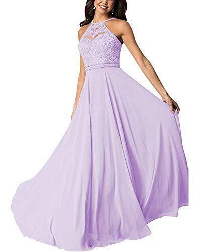 Aurora dresses Damen Abendkleider Chiffon Spitze Ballkleid Elegant für Hochzeit Lang Brautjungfernkleider(Lavendel,42)