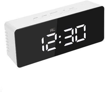 WYN123 Reloj Despertador Digital Reloj de Mesa, Reloj Despertador con Espejo Multifuncional HD, Espejo