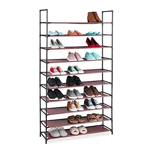 Relaxdays Zapatero (10 Niveles, para 50 Pares de Zapatos, plástico, 176,5 x 99 x 29,5 cm), Color Burdeos