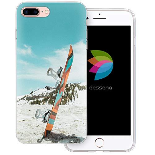 dessana Winter Sport transparente Schutzhülle Handy Case Cover Tasche für Apple iPhone 8 Plus Snowboard