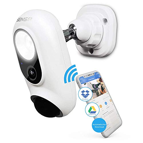 Sens8 kabellose Überwachungskamera Außen mit WLAN und Sirene als Alarm – Außenkamera speichert direkt in Ihre Cloud OHNE Speicherkarte und OHNE Gebühren mit Nachtsicht und Bewegungsmelder Outdoor