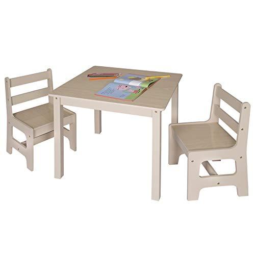 eSituro SCTS0001 Kindersitzgruppe 1 Kindertisch und 2 Kinderstühle Set, Kinderschreibtisch aus MDF Kindermöbel für Kinder Kindersitzgarnitur Holzoptik Naturfarbe