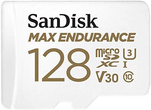 SanDisk MAX ENDURANCE microSD-Karte 128GB (lange Lebensdauer, bis zu 120.000 tunden aufnehmen, Full-HD, temperatur- und stoßfest, wasserresistent)