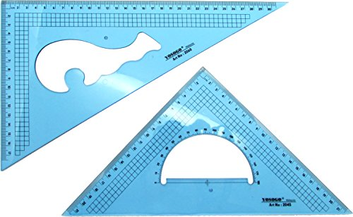 Pack of 2 Large Transparent Metric Triangle Ruler Set Square: 30 cm (12 Inch) - 30/60 Degree & 22 cm (9 inch) 45/90 Degree   Essential for School and Work use (cm Scale)