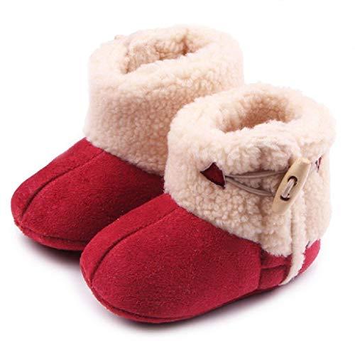 Auxma Baby schönen Herbst Winter warme weiche Sohle Schneeschuhe weiche Krippe Schuhkleinkind Stiefel (12cm(0-6 Monate), Rot)