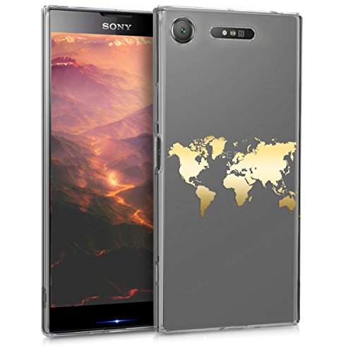 kwmobile Sony Xperia XZ1 Hülle - Handyhülle für Sony Xperia XZ1 - Handy Case in Travel Umriss Design Gold Transparent