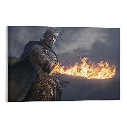 Espada de llama, juego de tronos, arte simple, póster decorativo para decoración de interiores, lienzo para pared, póster de sala de estar, 40 x 60 cm