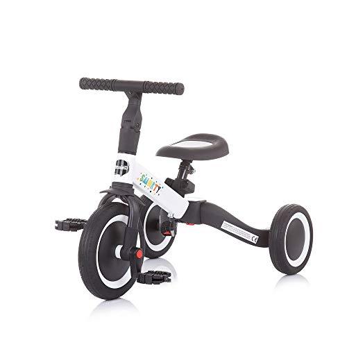 Chipolino Dreirad Smarty 2 in 1 Laufrad Gummireifen umbaubar Pedale verstellbar, Farbe:weiß
