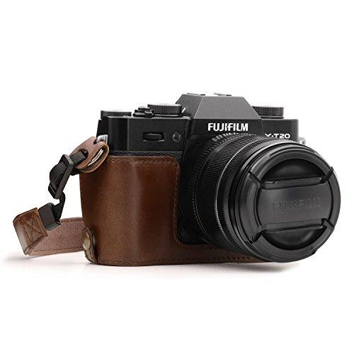 MegaGear MG958 Ever Ready Custodia metà copertura in finta pelle per Fotocamera compatibilie con Fujifilm X-T30, X-T20, X-T10 - Marrone Scuro