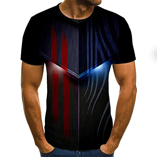 Short Sleeved Shirts for Men Red and Blue Striped Metal T-Shirt Male 3DT Shirt Short Sleeve Round Neck Digital Printing Casual Short Sleeve-Color_4XL