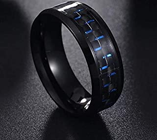 Ring Titanium Steel Black Carbon Fiber Mens Cool Rings Fashion Blue
