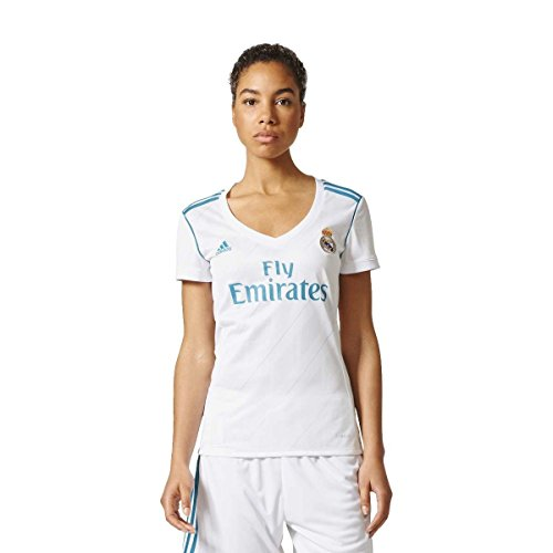 adidas H JSY W Camiseta 1ª Equipación Real Madrid 2017-2018, Mujer, Blanco/Azuint, 2XS