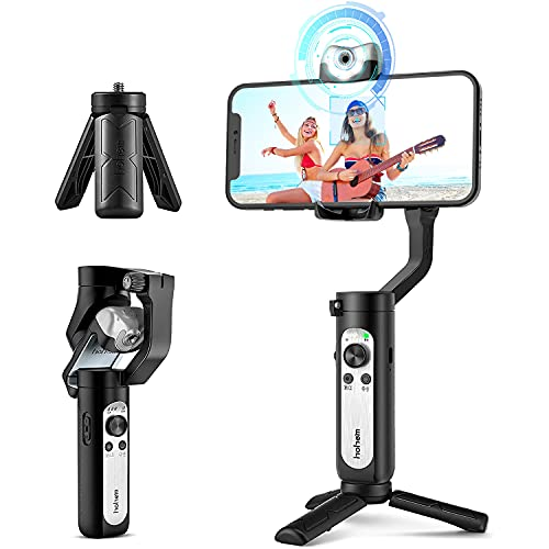 Gimbal Stabilizer for Smartphone 3-Axis Phone Gimbal w/ AI Tracking Sensor Inception Timelapse Lightweight Foldable Gimbal for iPhone 12 Pro Max/11 Samsung Vlog Stream Live Video, Hohem iSteady V2