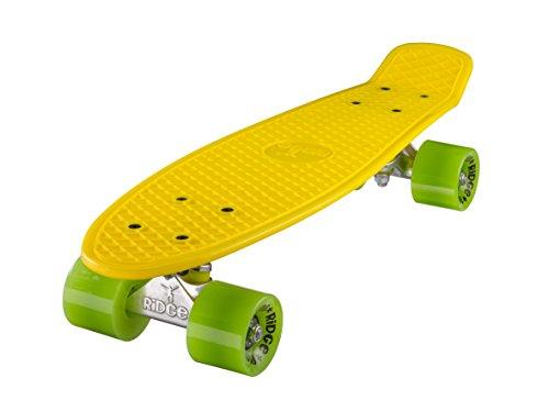 Ridge, Skateboard con ruote, completo e montato, Mini Cruiser Retro Stil In M Rollen , 55 cm, Giallo/Verde (Giallo/Verde)