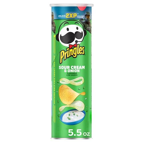 Pringles, Potato Crisps Chips, Sour Cream and Onion, Snacks On The Go, 5.5oz Can