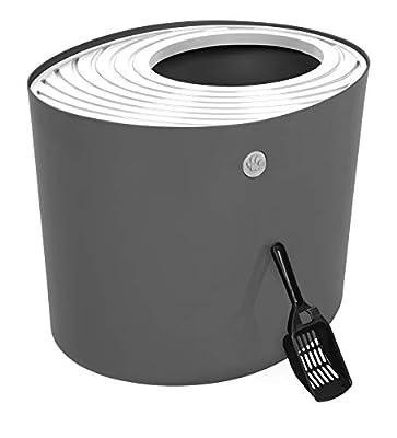 IRIS Top Entry Cat Litter Box, Dark Gray/White
