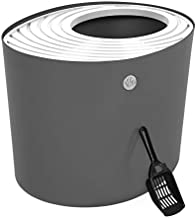IRIS USA Top Entry Cat Litter Box with Cat Litter Scoop, Dark Gray & White, Dark Gray/White, Large Punt-530