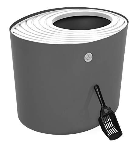 IRIS Top Entry Cat Litter Box with Cat Litter Scoop, Dark Gray & White, Dark Gray/White, Large