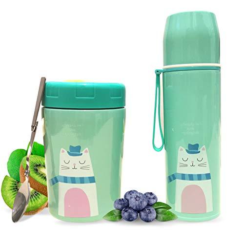 Balokki Kit Térmico 2-en-1 • Termo Papillero + Botella Térmica • Recipiente Térmico de Acero Doble Capa • Termo de Comida y Líquidos para Niños de Vviaje • Comida y Bebidas • Color Gatito