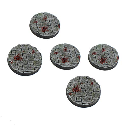 War World Gaming 40mm Round Dungeon Stone Resin Bases x5 for 20-28mm Scale Miniatures & Figures