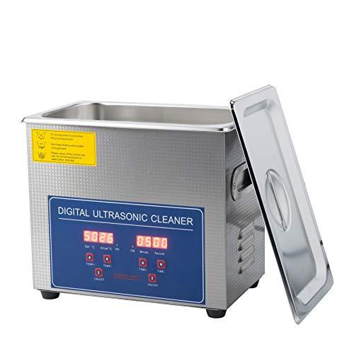 Sfeomi - Dispositivo di pulizia a ultrasuoni, con riscaldamento, timer digitale, per occhiali, gioielli, protesi dentali, monete