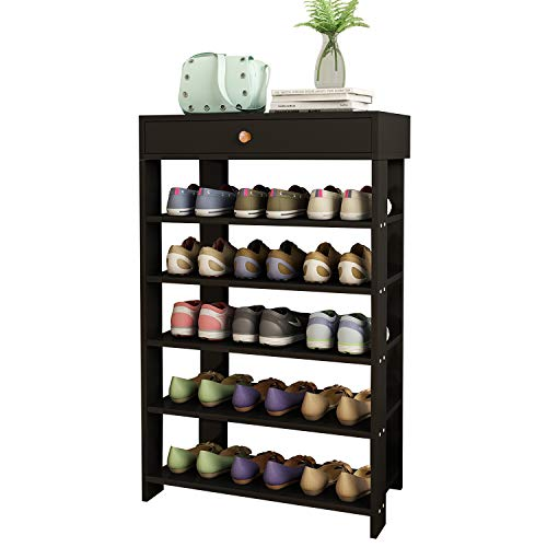 JERRY & MAGGIE - 5 Tier Wood MDF Solid Shoe Rack with 1 Large Top Draw/Shoe Storage Shelves Free Standing Flat Shoe Racks Classic Style - Multi Function Shelf Organizer - Black
