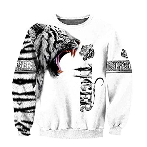 Sweat à Capuche imprimé Tigre Blanc en 3D Unisexe Automne Veste décontractée Pull zippé