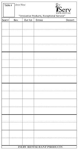iServ Order pads (10 pack) for Servers/Waitresses -Made in USA- Designed to keep Waitstaff Professionals Organized- Guest checks Order pads fits in waiter book