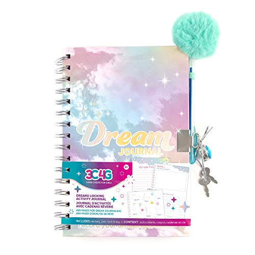 Three Cheers for Girls - Holowave Locking Activity Journal - Girls Diary with Lock and Key - Includes 200 Page Spiral Bound Activity Notebook, Stickers, Pen, Lock and Key - 5.5 x 8.3 Inches