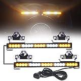 [Upgrade] ASPL 40 LED 2 in 1 Emergency Flashing LED Traffic Advisor Strobe Light Bar, Split Mount Interior Safety Warning Lights for Trucks Police Cars Construction Vehicles (Amber/White)