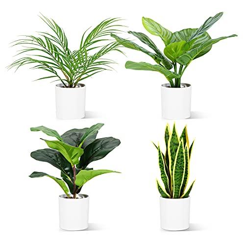 CROSOFMI Planta Artificial Interior 40 cm Mini Palmera Sansevieria Ficus Lyrata Plastico Maceteros...