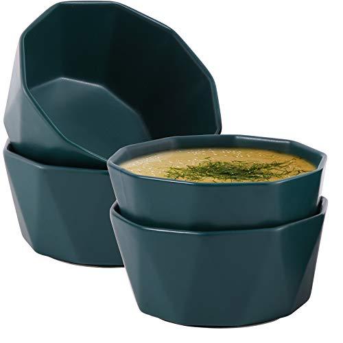 Hompiks Cereal Bowls Microwave and Dishwasher Safe Soup Bowls Soup Cereal Bowl Set of 4, Dark Green Ceramic 22 oz Dessert Bowls