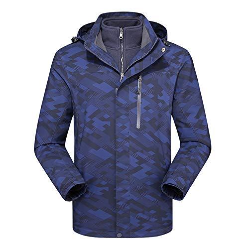 RSTJ-Sjcw Veste imperméable Girl 3 en 1 Ski Coupe-Vent Manteau Chaud d'hiver Surf des neiges Veste Raincoat, Manteau d'hiver intérieur avec Capuchon Amovible,Men's Blue,XXL