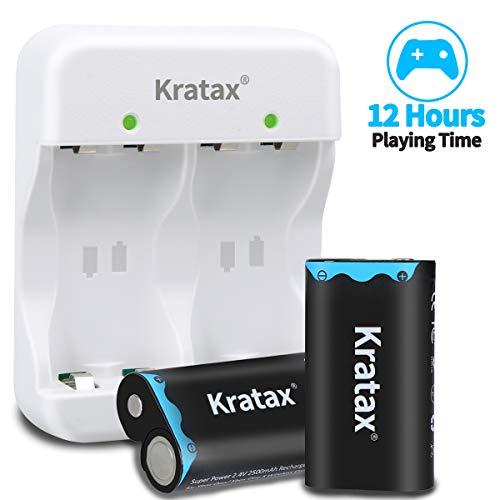 Kratax Paquete de Batería Xbox One 2pcx2500mAh con Cargador Rápido 3H para Xbox One / Xbox One S / Xbox One X / Xbox One Elite Controlador Inalámbrico - [Cargador Blanco o Negro Envío Aleatorio]