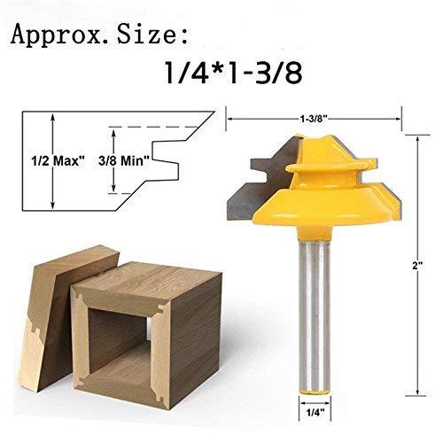 """4EVERHOPE 1/4\"""" Vástago 1-3/8\"""" Diámetro 45 Grados Cerradura Ingletadora Broca Cortadora de madera para taladrar madera Herramientas eléctricas"""