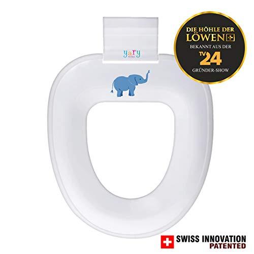 yary KIDZ Kinder Toiletten-Aufsatz, WC-Ring | Passt auf alle herkömmlichen WC-Brillen [weiß, Motivaufkleber Elefant] Für Kinder