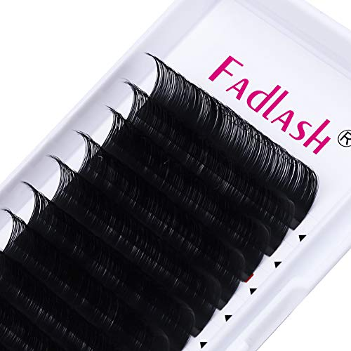 Eyelash Extension D Curl Mix 15-20mm FADLASH 0.10mm Silk Eyelash Extensions Thickness Classic Lash Extension Supplies (0.10-D, Mix 15-20mm)