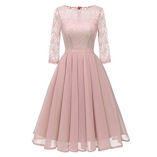 TWIFER Vintage Prinzessin Blumenspitze Cocktail Hochzeitskleid O-Neck Party A-Linie Swing Kleid