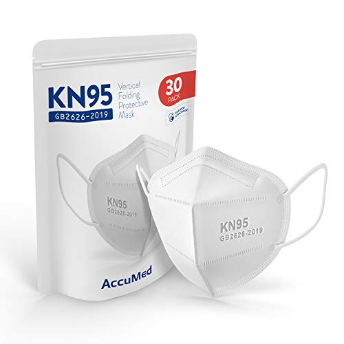 AccuMed 30-Pack KN95 Face Mask (EUA Listed Appendix A Respirator), Protective Face Mask, Disposable Particulate Respirator, GB2626-2019 (White)