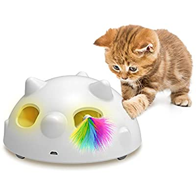 2020 Newest Pop and Play Interactive Cat Toy, Low Noise Robotic Cat Toy with 900mAh Rechargeable Battery&Auto Shut-Off,3 Adjustable Speed, Electronic Cat Toys for Indoor Cats, Includes 4 Accessories