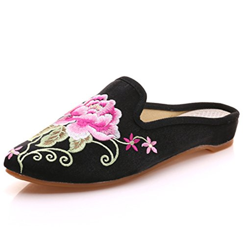 Qhome Women's Chinese Floral Peony Embroidery Pointed-Toe Comfortable Satin Casual Mules House Pumps Slippers Shoes Black