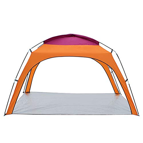 3-4 People Outdoor Sun Shelter Waterproof Shade Canopy Instant Tent for Beach Gazebo Backpacking Rainfly-orange