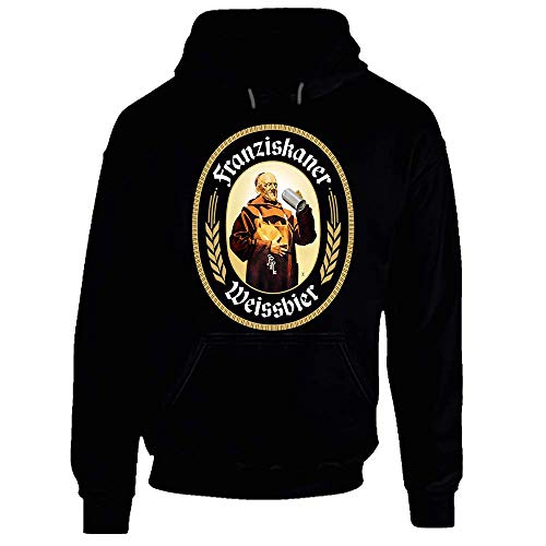 Preisvergleich Produktbild Franziskaner Weissbier Beer Cool Brewery Retro Brew Logo Hoodie Gr. Large,  Schwarz