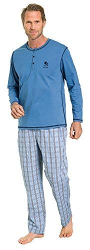Otto Kern Herren Pyjama mit langer Hose 100{012fc0a0f5f8dbaa6893051374a962d05ce23471761bb8e4eaf4c54811bd32a6} Baumwolle I Kurzarm Shirt mit Knopfleiste I Hose mit Seitentaschen & Knopfleiste I Blau I Gr. 56 (2XL)
